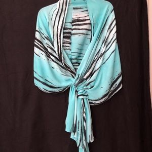 "Modesce aqua/black/white 144"" x 22"" shawl"